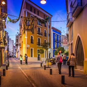 Evening in Villajoyosa by Morten Golimo - City,  Street & Park  Night ( villajoyosa, street, yellow, evening, spain )