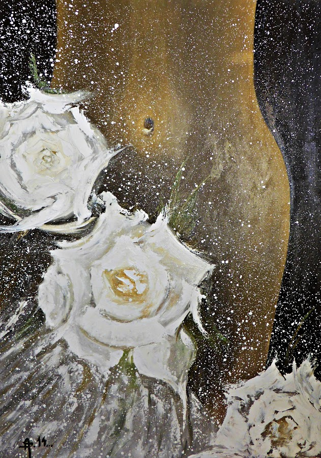 Wedding Night by Amas Art - Painting All Painting ( abstract, wedding, roses, white )