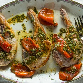 Pork Chops with Marinated Roasted Peppers