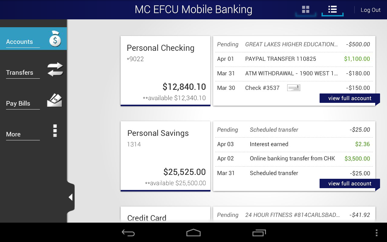 MC EFCU Mobile Banking - screenshot