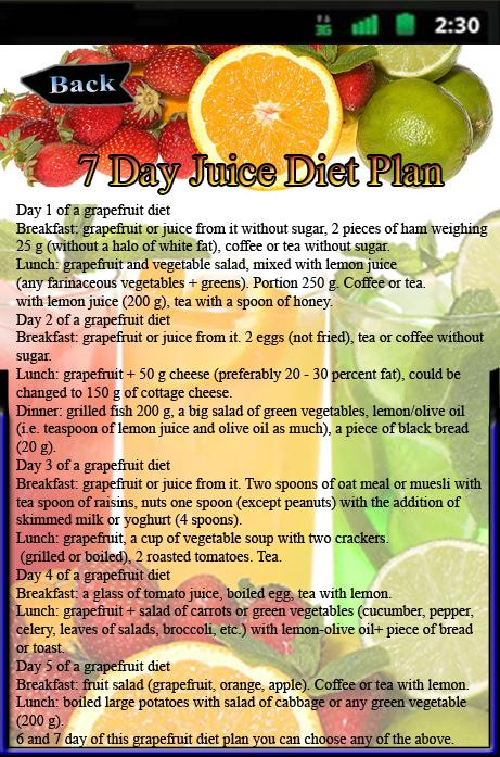 7 Day Juice Diet Plan Screenshot