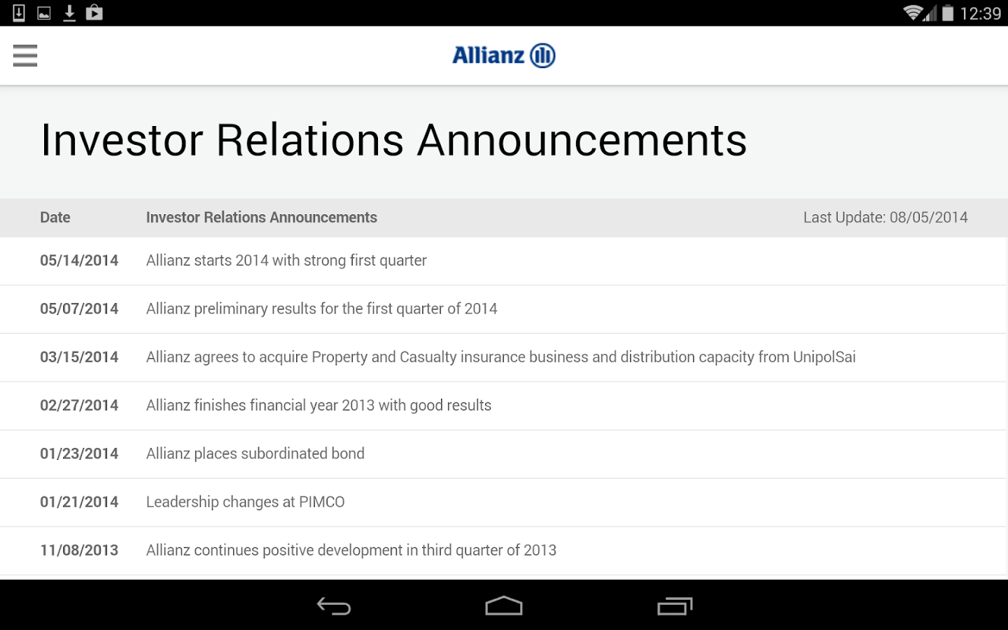 Allianz Investor Relations Android Apps on Google Play
