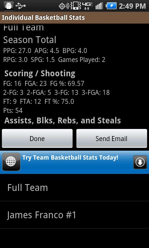 Individual Basketball Stats - screenshot