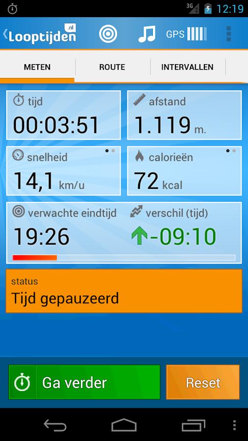 Looptijden.nl GPS hardloop-app - screenshot