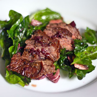 Eric Ripert's Seared Skirt Steak and Spinach Salad with Red Wine-Shallot Vinaigrette