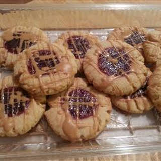 Peanut Butter and Jelly Thumbprint Shortbread Cookies.