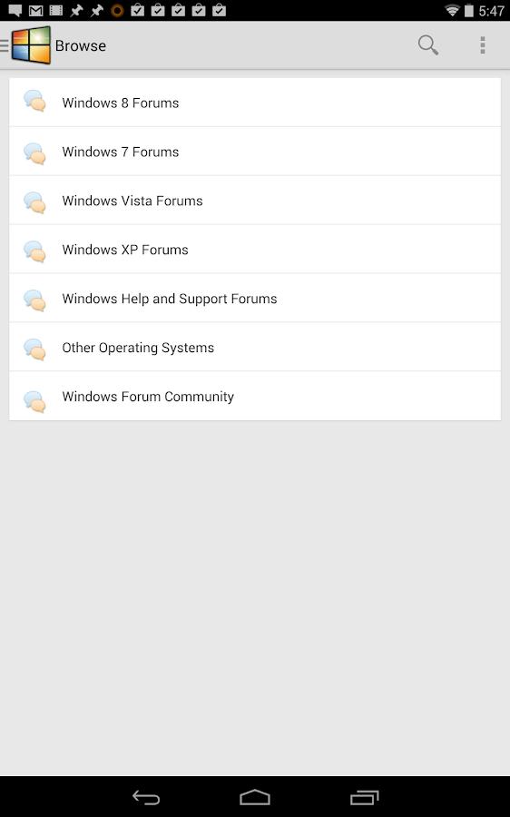 Windows Forums- screenshot