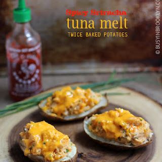 Spicy Tuna Melt Twice Baked Potatoes.