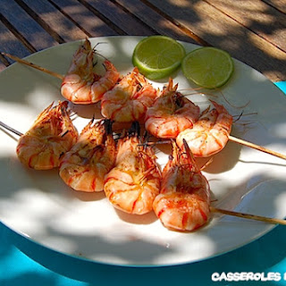 Shrimp Skewers with Lime and Garlic.