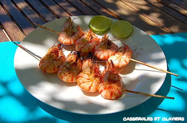 Shrimp Skewers with Lime and Garlic Recipe