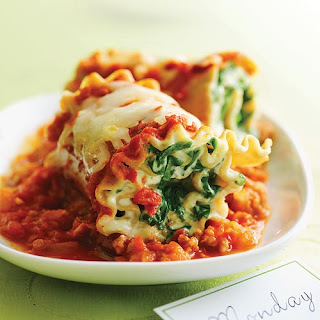 Pasta Roll-ups with Turkey and Spinach.