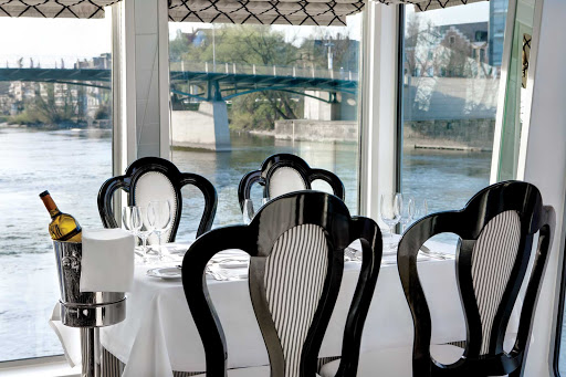 You won't miss a moment of your travels when dining in the River Princess dining room with its expansive views.
