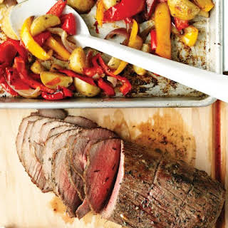Roast Beef with Peppers, Onions, and Potatoes.