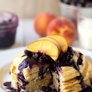 Healthy Greek Yogurt Pancakes with a Blueberry-Peach Syrup