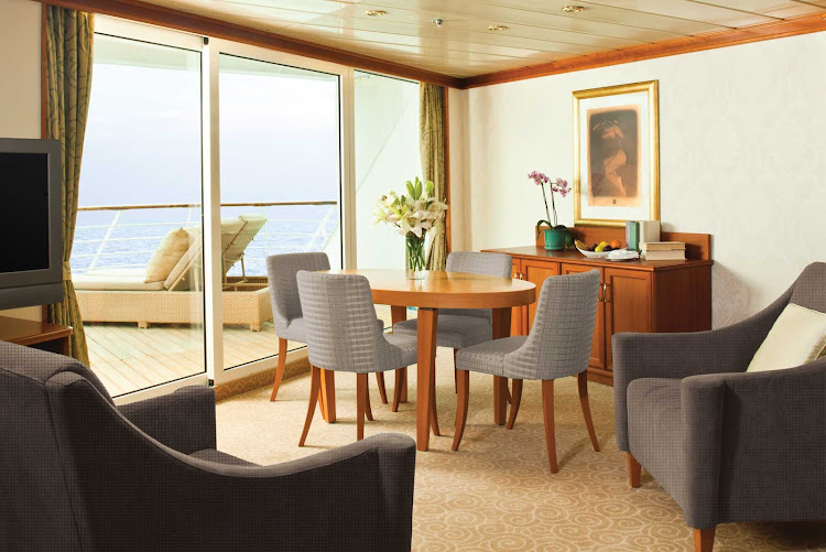 Enjoy intimate course-by-course dinner service in the comfort of your Seven Seas Aft Suite on Seven Seas Mariner.
