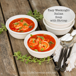 Easy Weeknight Italian Tomato Soup with or without Shrimp.