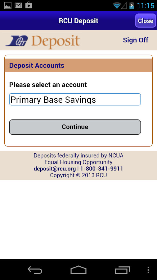 RCU Deposit - screenshot
