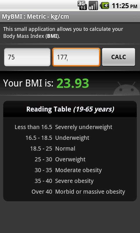 BMI Calculator (free) - screenshot