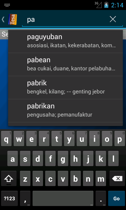 Tesaurus Bahasa Indonesia- screenshot