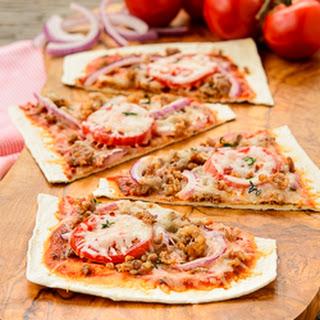 Sausage Onion Flatbread Pizza.