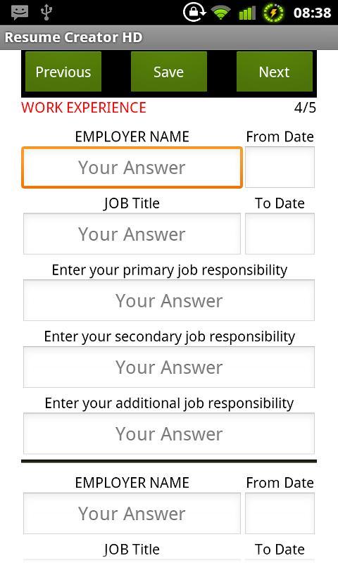 resume creator hd html screenshot
