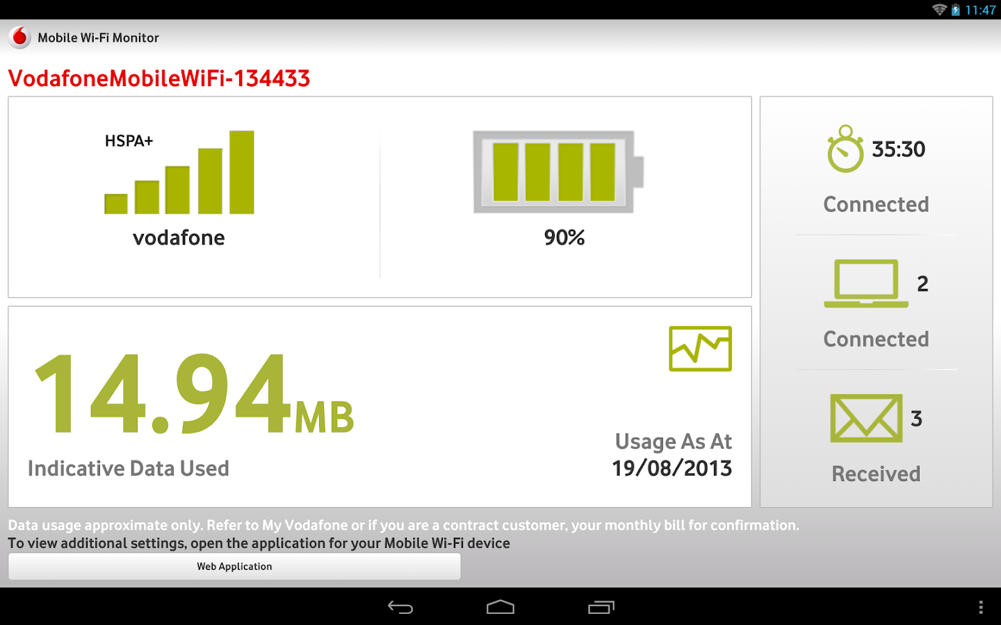 Vodafone Mobile Wi-Fi Monitor - screenshot