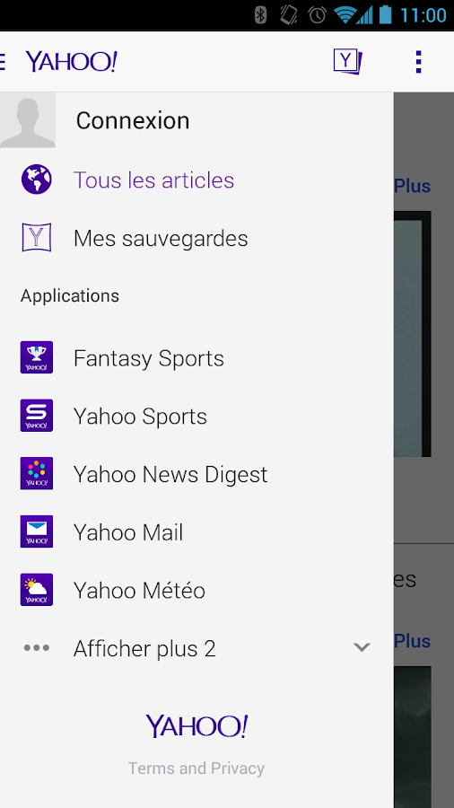Yahoo- capture d'écran