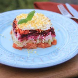 Shuba with Salmon, a twist on Herring Salad