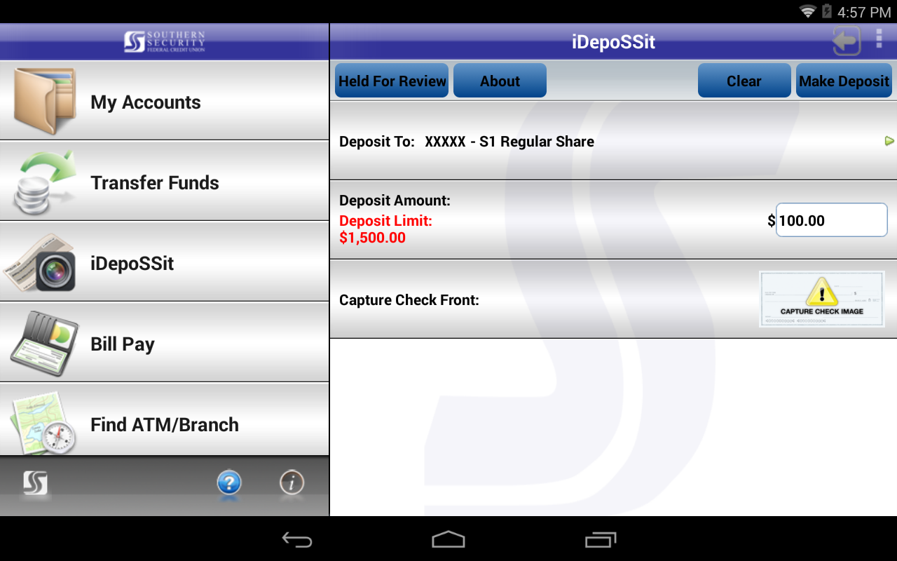 SSFCU Tablet Mobile Banking- screenshot