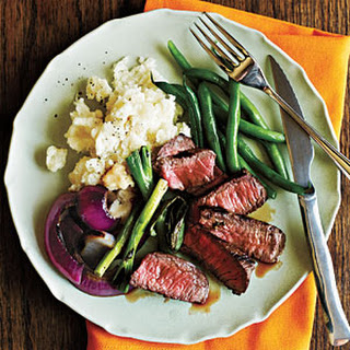 Grilled Steak with Onions and Scallions