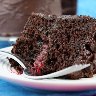 Double Chocolate Cake with Raspberry Filling.