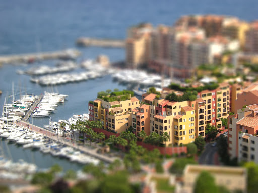 "tilt-shift-monte-carlo - Talk about a playground for the rich! A ""Tilt Shift"" photo of Monte Carlo made with tiltshiftmaker."