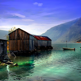 by Bente Agerup - Buildings & Architecture Decaying & Abandoned ( solvorn, boats, buildings, sea, sunlight, norway )
