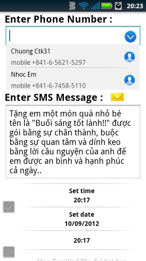SendSMS - screenshot