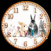 森のウサギ時計ウィジェット