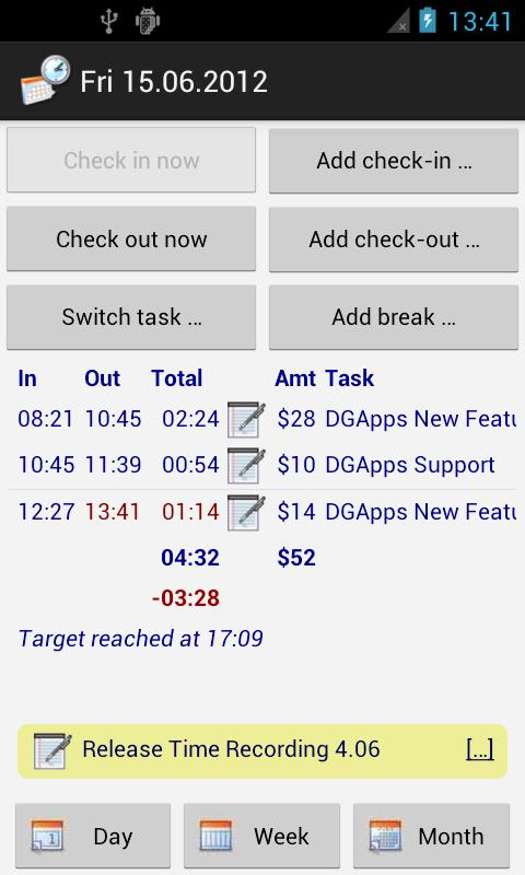 Time Recording - Timesheet App - screenshot