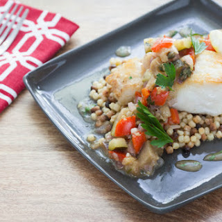 Pan-Seared Hake with Eggplant Caponata & Fregola Sarda.