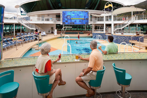 Catch a great flick, special or sporting event on Radiance of the Seas' giant outdoor digital movie screen.