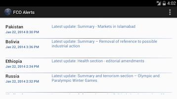 Screenshot of FCO Alerts