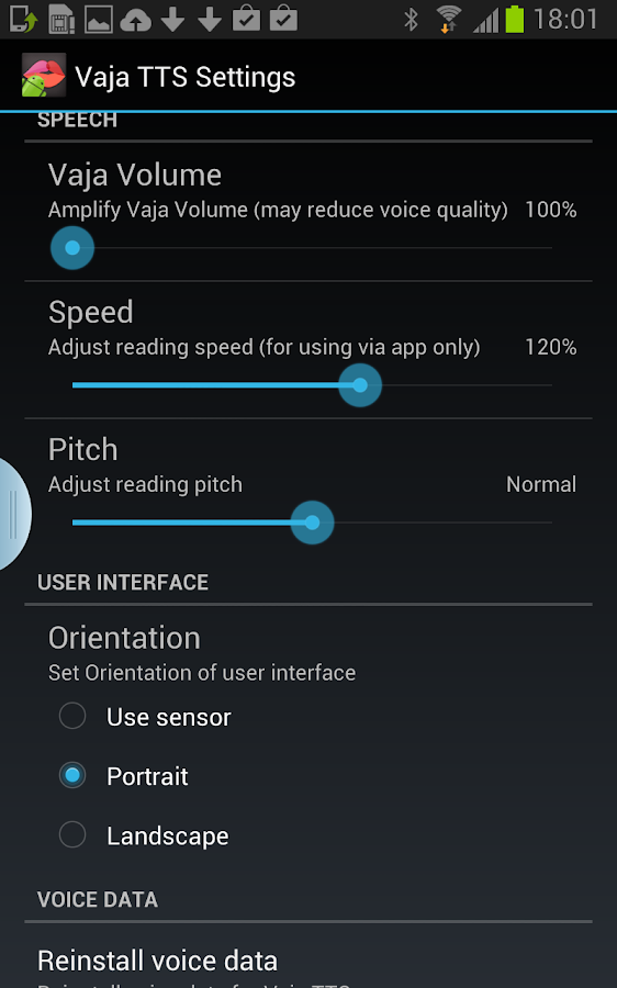 VAJA Text-to-Speech Engine - screenshot