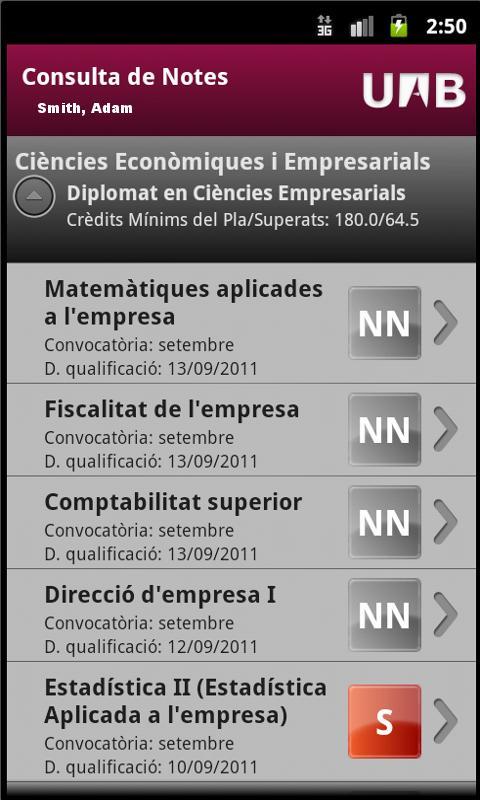 UAB Consulta de Qualificacions- screenshot