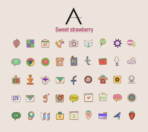個人化必備APP下載|Sweet strawberry_ATOM theme 好玩app不花錢|綠色工廠好玩App