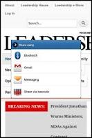 Screenshot of Leadership Newspapers