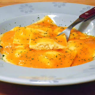 Homemade Ravioli Stuffed with Chicken.