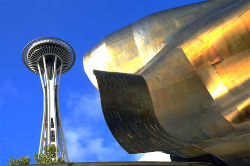 emp-museum-Seattle - The EMP Museum and Space Needle share space on the Seattle Center grounds.