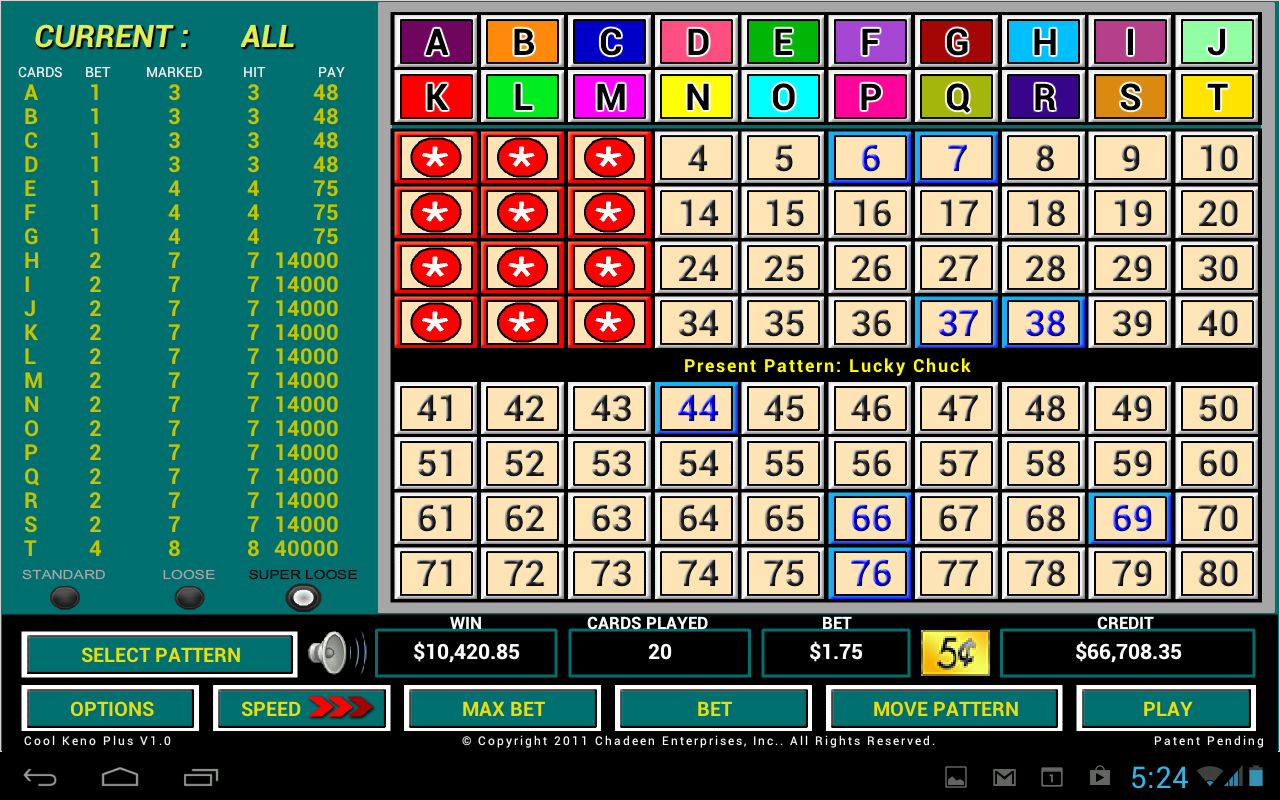 Multi chance keno keno plus how to play object of game winning numbers - Cool Keno Plus Screenshot