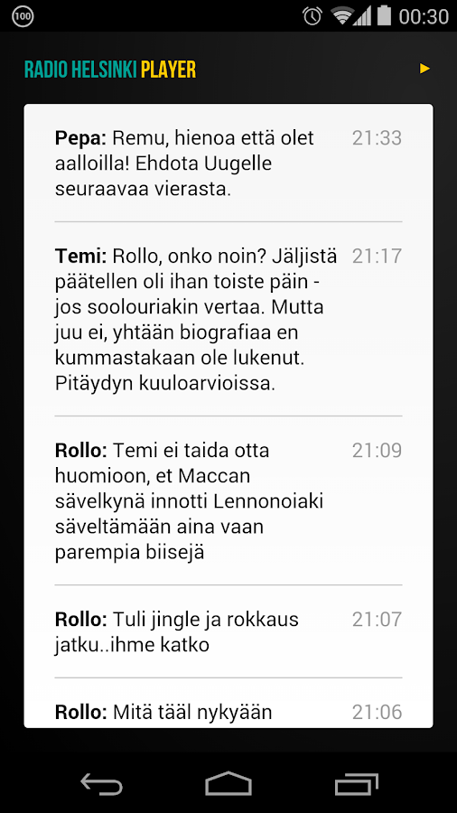 Radio Helsinki Player- screenshot