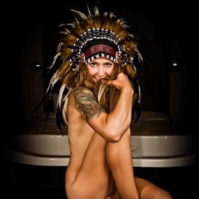 Native State by Matthew Chambers - Digital Art People ( blonde, sexy, nude, headdress, boudoir, tat, indian, matthew chambers photography, tattoo, tribal, native american,  )