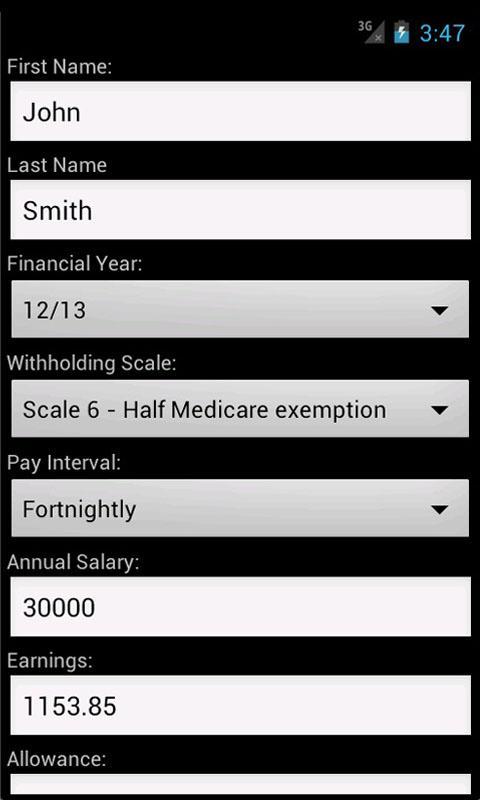 AU PAYG Withholding Calculator- screenshot