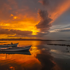 light by Enver Karanfil - Transportation Boats ( sunset, boats, sea,  )